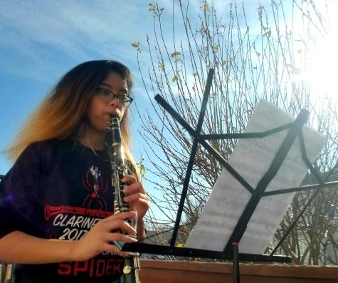 Staff writer and clarinetist Mikaela Ramirez (senior) plays the provided piece, Simple Gifts for the Lift Your Voice event. The sounds of music ring faintly through the neighborhood as others participate.