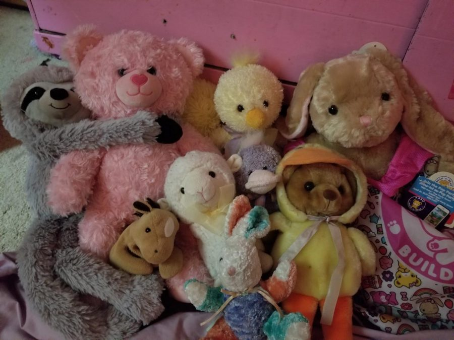 Everyone has little comforts that make them feel safe. Many people are taught that people grow out of certain comforts. However, this group fiercely disagrees, affirming that holding onto childhood comforts can help in these unfamiliar times. Pictured (Left to Right, top row to bottom): Slow-Mo, Strawbebby, Buttercream, London, JFK, Lambie the Llama, Grape, Patchy the Pirate, and Ducky the Bear. - Eddie Burgin